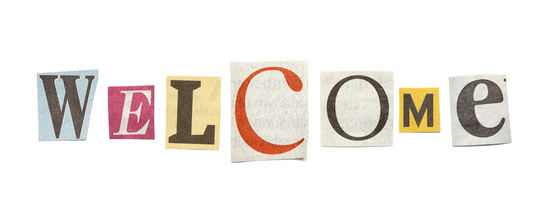 Welcome, Cutout Newspaper Letters